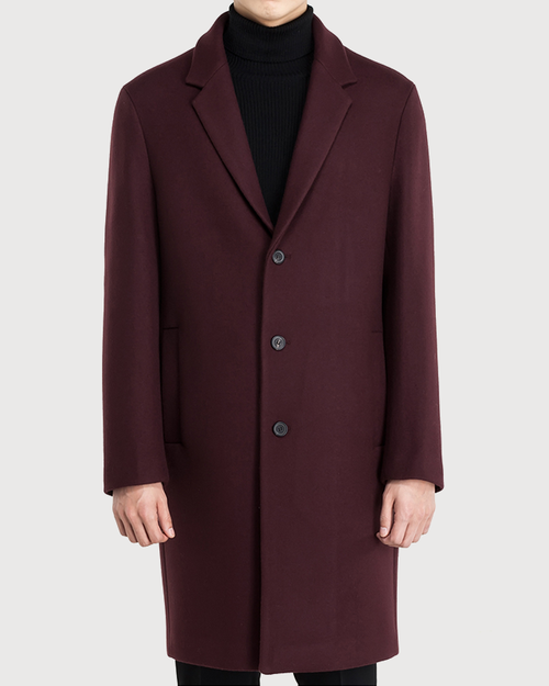 Dark wine cashmere semiover Coat [HC03]