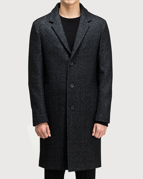 Black tweed semiover Coat [HC03]