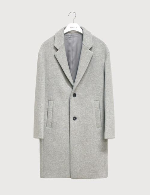 Melange cashmere felt over coat [HC13]