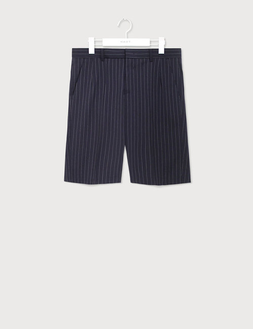 Dark navy pin stripe half Slacks [HS46]