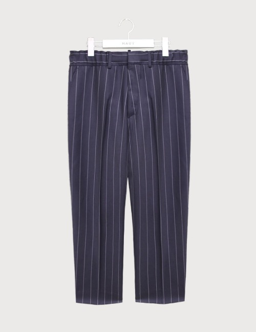 Pin stripe banding wide crop slacks [HS59]