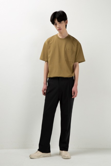 Black semiwide slit slacks [HS63] - 제일모직