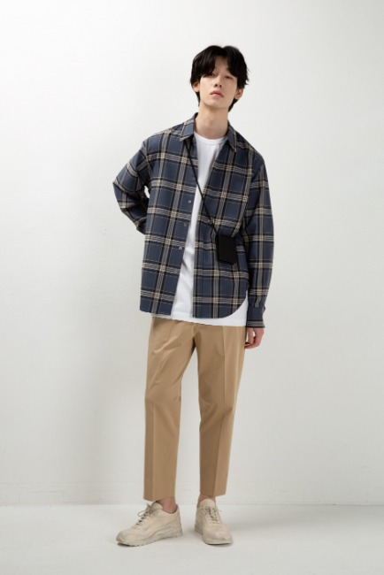 Beige banding wide crop slacks [HS58] - 재입고